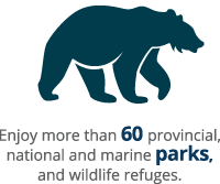 Enjoy more than 60 provincial, national and marine parks, and wildlife refuges.