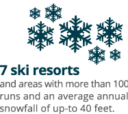 7 ski resorts and areas with more than 100 runs and an average annual snowfall of up-to 40 feet.