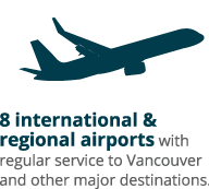 8 international & regional airports with regular service to Vancouver and other major destinations.