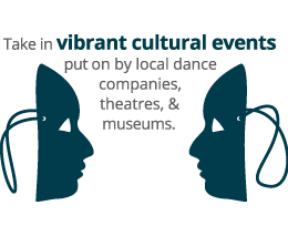 Take in vibrant cultural events put on by local dance companies, theatres, & museums.